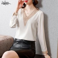 Women's Blouses & Shirts 2021 Casual V Neck Plus Size Women Long Sleeve Satin And Tops Fashion Silk Ladies Clothing Blusas 15865