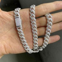 Necklaces Meisidian 24 Inch S925 Silver Iced Out Vvs Moissanite Diamond Cuban Link Chain Necklace for Men XTVA
