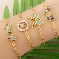 Braccialetto multicolor farfalla Charms per braccialetti cristallo oro cornice catena di collegamento braccialetto con pietra cz zirconia regalo gioielli donne BRTC56