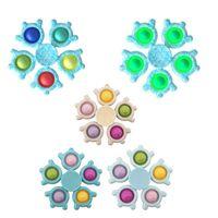 Fidget Toys Снежинки Пальцы Гиро Пузырь Палец Игрушка Вращающийся Силиконовый Ледяной Снег Световой Световой Свет, Перевозящий Верхний Ежедневный Досуг Декомпрессионный Рождественский Подарок