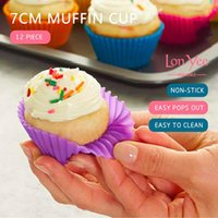 12pcs Set Silicone Cake Mold Round Shaped Muffin Cupcake Baking Molds Kitchen Cooking Bakeware Maker DIY Cake Decorating Tools DHL ship dh32