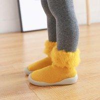 First Walkers Autumn And Winter Plus Velvet Thickening Baby Floor Socks Non-slip Toddler Shoes Rubber Bottom