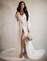 2021 Wedding Bathrobe Appliqued V-neck long Sleeve Floor-length Night gown Robe Custom Made Sheer Holiday Party Costume