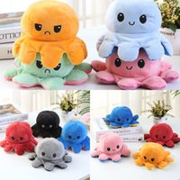 DHL Creative Reversible Flip Octopus Doll Cute Mood Double-sided Stuffed Animals Pillow For Children Gift Baby Toys 1142 X2