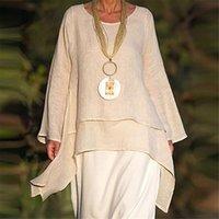 Women's Blouses & Shirts Blouse Women Fashion Plus Size Irregular Casual Linen Long Sleeve Neck Blusas Mujer De Moda 2021 Elegant