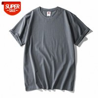 Hand torn label quality summer blank heavy T-shirt men's compassionate cotton European size 220g #Hk4y