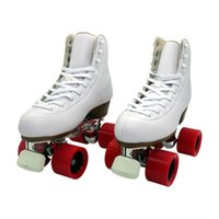 Inline & Roller Skates Double Row White Two Line Shoes Children Adult Parenting Sneakers 4 Pu Wheels Cowhide Leather Unisex
