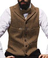 2021 New Brown Rustic Groom Vests For Country Wedding Wool Herringbone Groomsmen Attire Men 'S Party Suit Vests Slim Fit Dress Waistcoat