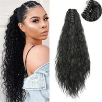 Synthetic Wigs Azqueen 22 Inch Long Afro Kinky Curly Black Brown Ponytail Drawstring Corn Hair Piece For Beauty Women