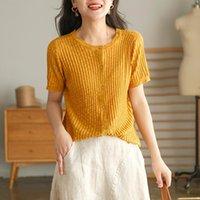 المرأة t-shirt جذل المرأة ملابس محبوك خمر الصيف القمصان قصيرة الأكمام لينة 2021 عارضة الإناث س الرقبة زر قمم