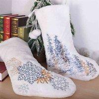 Kar Tanesi Noel Ağacı Nakış Noel Çorap Beyaz Peluş İpli Çanta Çorap Pom Topları ile Noel Çorap Çocuk Hediye Çantası Arife Partisi Süs G85OFRC