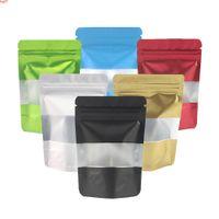 Çeşitli renkler koku geçirmez alüminyum folyo mylar ambalaj poşetleri stand up mutfak gıda torbalar plastik zip kilit w / windowhigh qty