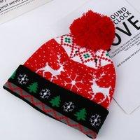 Christmas colorful LED light Knitted Hat Santa jacquard advertising 2020 women's hatEFAH