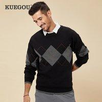 Kuegou outono inverno roupas de algodão contraste cor suéter masculina quente jacquard moda pulôver camisola homens top ayz-9128 210524