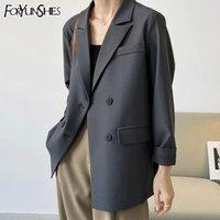 Foryunshes Suit Blazer Женщины Негабаритный Blazer Femme Высокое Качество Мода Двухбортская Куртка Корейский Свободный Повседневный Пальто пружины