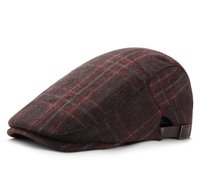 Autumn and winter woolen beret men's British retro checkered peaked caps fashion painter hat casual warm forward hats