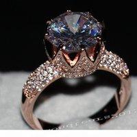 Victoria Wieck Jewelry de lujo 8ct Solitaire 11mm Blanco zafiro Simulado Diamante Simulado Boda Rosa Gold Crown Band Women Anillos Tamaño de regalo 5-11