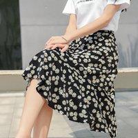 Pleated Small Daisy A-line Women's Summer New High Waist Korean Chiffon Medium Length Floral Skirt 2121