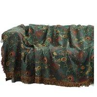 Decken 100% Baumwolle Bohemia Wurf grün Musselin Große weiche einfache Sommerbettbezug BettSpread gewichtete Decke für Sofa