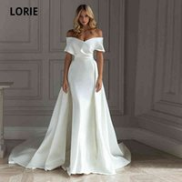 Removable with Lorie Elegant Train Satin From the Shoulder Mermaid Gown 2021 Wedding Dress Bride
