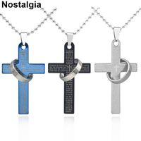 Ожерелья кулон Ностальгия Религиозный Крест Эмаль Иисус Ожерелье Мужчины Женщины Бусины Цепь Библия Стихи Выгравированные Молисты Христианские Ювелирные Изделия