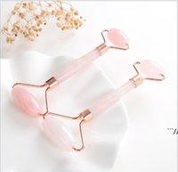 Natürliche Trommelkakra Rose Quarz Geschnitzte Reiki Kristallheilung Gua Sha Beauty Roller Gesichtsmassor Stock Mit Legierung vergoldet Sea DWC7029