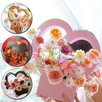 Gift Wrap 1PC Handbag Paper Box Florist Packing Heart Shape Flower Bouquet Basket Creative Party Decoration
