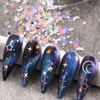 6 Bottle / Set Mix Boyutu Mermaid Holografik Çiviler Pul Pulları 3D Yıldız Kalp Parlak Manikür Pedikür Glitter Bling Nail Art Süslemeleri