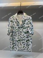 21ss Men Parted T Рубашки Polos дизайнер буквы Гавайи плющ шаблон Парижская одежда с коротким рукавом мужская рубашка тег белый черный синий