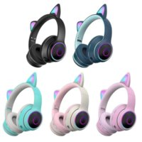 AKZ-022 Cat Ear Earphones Stereo Headset with Mic LED Light and Volume Control Support Wired Headphones Glowing Lights