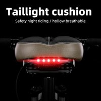 ROCKBROS MTB Bike Saddles Tail Light Cushion Cycling Leather Saddle Rail Hollow Soft Bicycle Front Seat Mat Cover Bikes Part