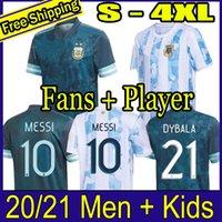 الأرجنتين كرة القدم جيرسي المشجعين واللاعب النسخة 2021 كوبا أمريكا ميسي dybala أجويرو قميص كرة القدم الرجال + أطفال مجموعات مجموعات 20 21