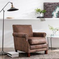 Mobiliário de quarto Vivendo Cadeira de clube estofada tradicional com guarnição nailhead, castanha antiga