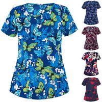 Kadın T-Shirt Bakım Kurumları Güzellik Salonu Scrubs Üniforma Üstleri Unisex V Yaka İş Kıyafetleri Pet Baskı T-Shirt # T1Q