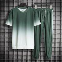 Erkek Setleri Kısa Kollu Degrade 2 Parça Takım T Gömlek Pantolon Ince Spor Takım Elbise Erkek Marka Streetwear Erkekler Yaz Eşofman Set Erkekler Parçalar