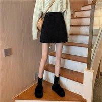 Saias desviador estilo coreano saia com nádegas, cintura alta, fina e linha