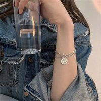 Link, Chain Punk Silver Color Chunky Letter Round Charm Bracelet For Women Girl Metal Geometric Adjustable Bangles Party Jewelry