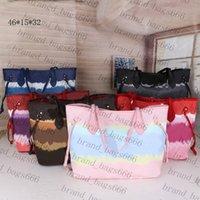 Topp 2021 Kvalitet M45120 Nya Kvinnor Färgningsprocess Stor handväskor Totes Purses Blomma PU Läder Skulderväska Crossbody Bag Lady Sommar Väskor