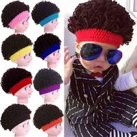 Yeni erkek veya kadın çocuk şapkası el yapımı yün patlayıcı kafa peruk kıvırcık 1-4 yaşında