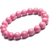 10mm amor charme pulseiras para mulheres femme rosa rosa redondo contas jóias estiramento natural rhodonite pulseira frisada, vertentes