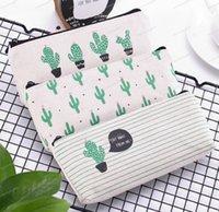 creative cactus Pencil Case Bag Purse canvas Portable Pen Money Wallet stripe zipper Pouch Pocket Keyring Gift Kawaii