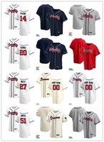 Hombre para mujer Juvenil 20 Marcell Ozuna 14 Cristian Pache 27 Austin Riley 51 Will Smith Smith Jersey de béisbol personalizado en blanco Red White Grey Navy