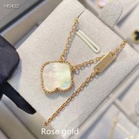 Luxury Jewelry Fashion Classic Agate 4 Four Leaf Clover Flowers van Pendant Necklace Mother-of-Pearl for clee Women&Girls Valentine's Mother' with box