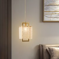 Modern Luxury Small Copper Gold Chandelier lamps Long Hanging Wire Simple Single Head Light Bedroom Bedside Lamp Home Fixtures