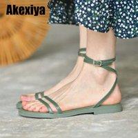 Sandals Summer Women's 2021 Green Flats Casual Beach Shoes White Gladiator Flip Flops Female Footwear BC191