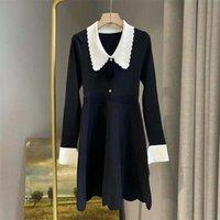 Casual Dresses Autumn Winter Retro Gracful Lady Black Dress Short A Line Long Sleeve Baby Doll Design Robe Vestido