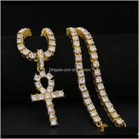 Necklaces Pendants Jewelryhip Hop Iced Out Diamond Gold And Sier Egyptian Ankh Key Of Life Cross Pendant Tennis Chain Necklace Rapper Jewelr
