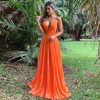 Robes de soirée dossière séduisantes à col en V long A LIGNE 2021 SPAGHETTI STRAPT ELEGANT HOFFON Robe de bal orange de SOIREE