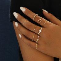 Z5WE مجوهرات بسيطة المرأة المشتركة الحب موجة الأناناس مجموعة مجوهرات بسيطة المرأة المشتركة الحب موجة رنينس الفرقة حلقات مجموعة