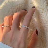 Multi Beaded Pearl Band Rings Vintage Natural Freshwater Pearls Geometric Elastic Finger Ring for Women Girls Continuous Circle Minimalist Jewelry Gift